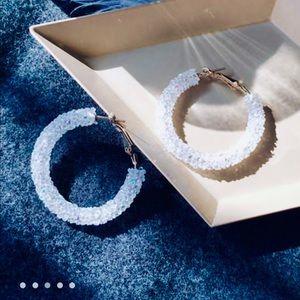 Iridescent Chunky Hoop Earrings / (OS)